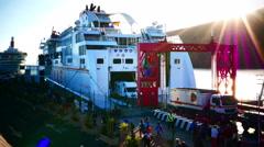 Stock Video Footage of 4K UHD TimeLapse Vehicle Passenger at Ferry Dock Harbour San Sebastian La Gomera