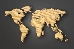 World map carving on wood plank Stock Illustration