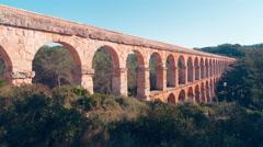 Spain sunny day tarragona famous bridge pont del diablo 4k time lapse Stock Footage