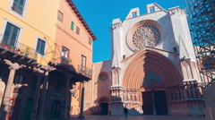Spain sunny day tarragona cathedral entrance 4k time lapse Stock Footage