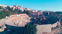 Spain tarragona amphitheatre sunny day panorama 4k time lapse Stock Footage