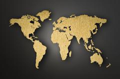 world map carving on wood plank - stock illustration
