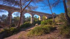 Spain tarragona tourist city bridge pont del diablo 4k time lapse Stock Footage