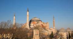 Hagia Sophia cathedral at sunset - stock photo