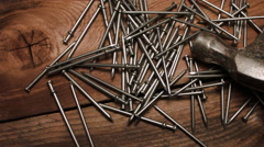 HAMMER & NAILS, JUST THAT SIMPLE.  BASIC CONSTRUCTION ESSENTIALS Stock Footage