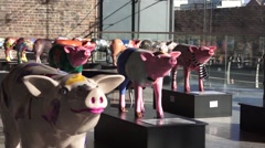 Pig statue art Stock Footage