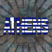 Stock Illustration of Athens flag text on Euros sunburst illustration