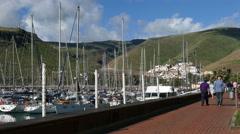 4K UHD Ferry Dock n Yacht harbor harbour San Sebastian La Gomera Canary islands Stock Footage