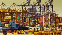 4K trading port cargo, hoisting cranes, trucks, big activity timelapse Stock Footage