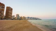 Spain benidorm sunset coast view 4k time lapse Stock Footage