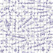 illustration of math formula on paper sheet, seamless pattern - stock illustration