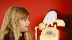 Little girl vintage telephone butler talking Stock Footage