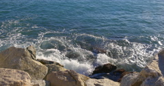 Sun light mediterranean sea stone pier view 4k spain Stock Footage