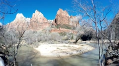 Virgin River Wide Angle Shot at Zion National Park in Utah Stock Footage
