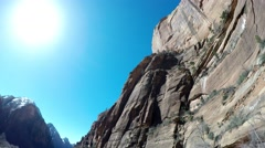 Wide Angle of Red Rock Cliffs Stock Footage