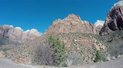Driving Tracking Shot of American Southwest at Zion Stock Footage