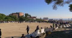 Sun light crowded guell park balcony barcelona 4k spain Stock Footage