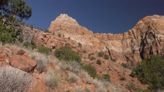 Pan of Red Rocks in Desert Southwest at Zion National Park Stock Footage