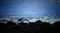 Sea Wave crushing volcanic rock shore of La Gomera Canary islands Spain Stock Footage