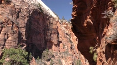 Hiking Trail and Hikers at Zion National Park in Utah Stock Footage