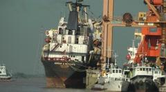 Big Ships and small Boats,Yangon,Burma Stock Footage
