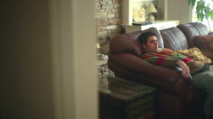 lazy on couch being - stock footage