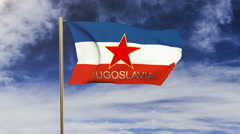 Stock Video Footage of Yugoslavia flag with title waving in the wind. Looping sun rises style