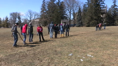 Tug of war game on college university campus Stock Footage
