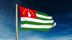 Abkhazia flag slider style. Waving in the win with cloud background animation Stock Footage