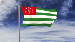 Abkhazia flag waving in the wind. Green screen, alpha matte. Loopable animation Stock Footage