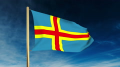 Aland Islands flag slider style. Waving in the win with cloud background Stock Footage