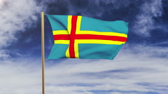 Aland Islands flag waving in the wind. Green screen, alpha matte. Loopable Stock Footage