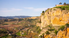 Stock Video Footage of sunny day ronda famous view panorama 4k time lapse spain