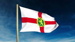 Alderney flag slider style. Waving in the win with cloud background animation Stock Footage