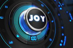 Joy Button with Glowing Blue Lights - stock illustration