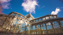 Stock Video Footage of sunny day running clouds madrid palacio de cristal top 4k time lapse  spain
