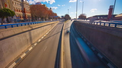 Sunny day morning bridge view traffic tunnel road 4k time lapse  spain Stock Footage