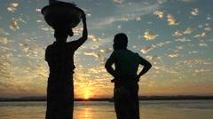 Sunset at the harbour of Yangon River,Mandalay,Burma Stock Footage