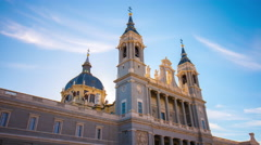 sun light main madrid almudena cathedral 4k time lapse spain - stock footage