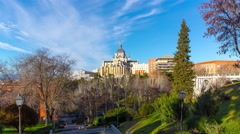 madrid sunny day park view on almudena cathedral 4k time lapse spain - stock footage