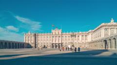 Sun light madrid royal palace placa  panorama 4k time lapse spain Stock Footage