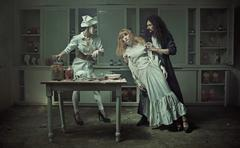 Operation in the old haunted hospital - stock photo