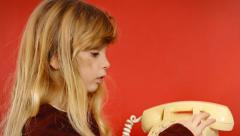 Little girl vintage telephone conversation Stock Footage