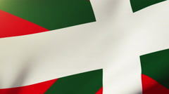 Basque flag waving in the wind. Looping sun rises style.  Animation loop Stock Footage