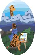 Giraffe artist - stock illustration
