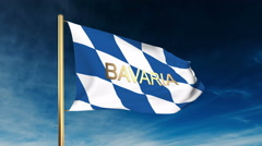 Bavaria flag slider style with title. Waving in the wind with cloud background Stock Footage
