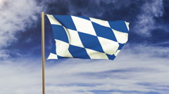 Bavaria flag waving in the wind. Green screen, alpha matte. Loopable animation Stock Footage