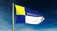Bratislava flag slider style with title. Waving in the wind with cloud Stock Footage
