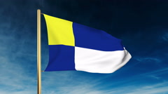 Bratislava flag slider style. Waving in the win with cloud background animation Stock Footage