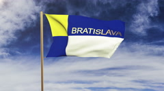 Bratislava flag with title waving in the wind. Looping sun rises style Stock Footage